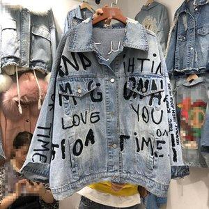 2020 Spring New BF Heavy Industry Sequined письмо Вышитые Сыпучие-Fit большого размера джинсовые куртки Женские Негабаритные Жан пальто Femme
