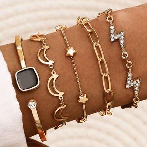 5 pcs set Gold Color Moon Star Charm Bracelets Set Crystal Thunder Link Chain Braclets Fashion Women's Bracelets on Hand Jewelry1