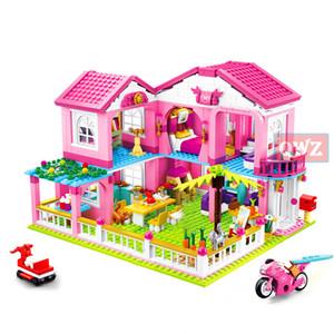 New City Menina Amigos Grande Jardim Villa Modelo Building Blocks Technic Technic Playmobil Brinquedos para Crianças Presentes LJ200928