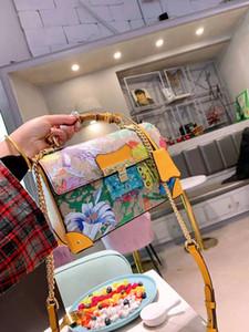Flores Bambu Ombro Bolsas Mulher Mochila Feminina Slope através de couro genuíno bolsa bolsa mulheres bolsas femininas