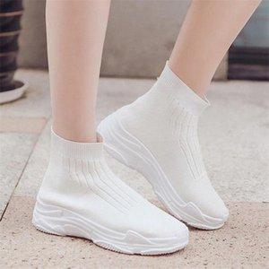 محبوك مرونة شبكة أحذية عالية أعلى المرأة 2019 ربيع الخريف أحذية النساء أزياء أبيض أزياء أحذية نسائية عارضة # HJ0K