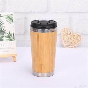 2 Styles Bamboo vacuum Tumblers 304 Stainless Steel Inner 16OZ Water Bottle car Travel Mugs Cups Reuseable For Coffee cup A05