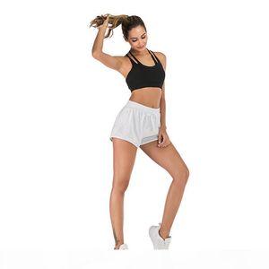 Yogaworld Women Yoga Training Fake Two Shorts Fitness Outdoor Running Quick-drying Hot Pants Black White Gray