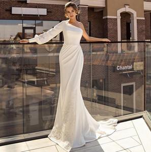 Hot Lace Appliques Mermaid Wedding Dresses 2021 Soft Satin One Shoulder Boho Bridal Gowns 2021 Vestido De Noiva Country