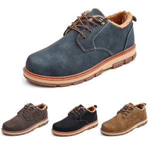 Platform shoes Mens Winter shoes keep warm velvet leather shoes color black brown blue coffee mens trainers size 39-44