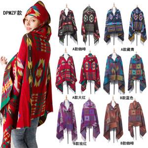 Pashmina mantón Sherpa Capa con capucha para mujer de Bohemia de las borlas del cabo de la bufanda sudaderas Outwear invierno cálido señoras Capas Wraps bufandas Mats LY10261