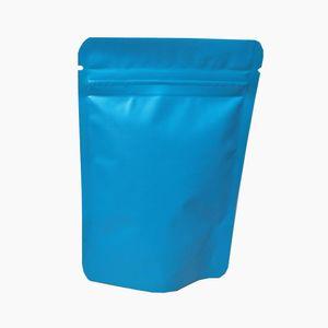100pcs Lot Matte Blue Doypack Aluminio Plastic Plass Block Bolsa de embalaje con ventana Mylar Self Seal Snack Cremallera Paquete Paquete H BBYQBF