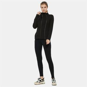 Фитнес бегущая куртка йога тренировки застежка для молнии женские Женские прокладки с длинным рукавом бегагинг толстовка тренажерный зал тренировка бега спортивной одежды Y201012