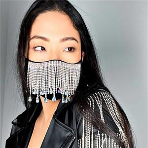 Máscara de 2020 de Moda de Nova flash Diamante Máscara de metal jóia Rhinestone Tassel Gem Pendant 3 cores EUA frete grátis
