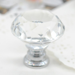 Cabinet Knob Pull Handle 30mm Diamond Shape Crystal Glass Drawer Kitchen Door Wardrobe Hardware Pull Handles HHE3987