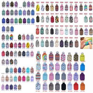 Tenedor desinfectante de 30 ml 154 estilos de neopreno llavero mini botella cubierta multicolor rectángulo forma chapstick sosee OWEE1172