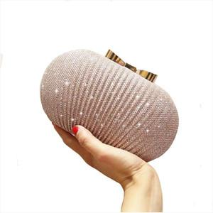 LJL Golden Evening Clutch Bag Women Bags Wedding Shiny Handbags Bridal Metal Bow Clutches Bag Shoulder