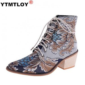 Botas de tobillo de invierno para mujeres Rhinestone Block Block Tacones Crystal Stretch Boots Chic Slim Damas Zapatos de otoño Tamaño negro 35-43