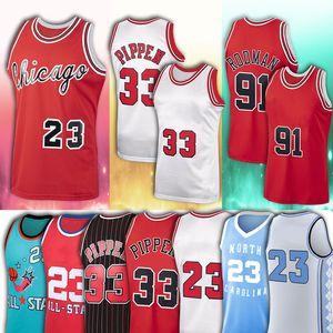 NCAA 23 Michael Men MJ 33 Scottie 91 Dennis Pippen ChicagoBUL Rodman Mitchell & Ness Basketball Jerseys