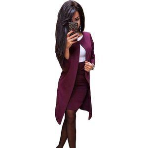 MVGIRLRU OFICINA DE OFICINA DE OFICINA Vestido formal Trajes de negocios Desgaste de negocios Mujeres Larga Blazer Chaqueta + Vestido de funda Juego de 2 piezas T200117