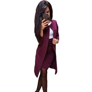 MVGirlru Office Lady Formel Robe Suites Weanger Weanger Femmes Long Blazer Veste + Robe gaine 2 pièces Ensemble T200117