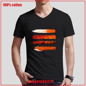 Das Schweigen des Red Fox Print Men Kurzarm mit V-Ausschnitt loser Sommer Herren-Oberteile Herren Bekleidung Sport Hoodys Hoodie-T-Shirt