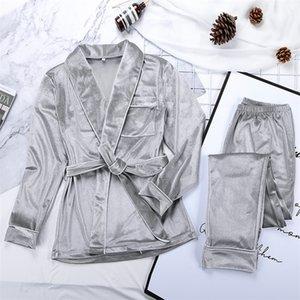 Hiloc Velvet pyjama chaud pour femmes robes et pantalons poche solide manches longues épaisses maison usure d'automne nuit costume hiver décontracté 201029