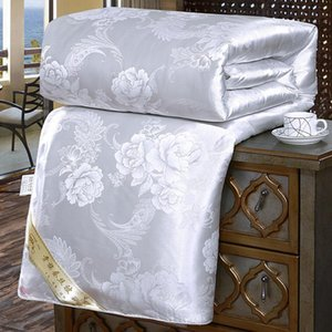 New Luxury Silk Quilts Twin Queen King Full Size Spring Autumn Conditioning Quilt Jacquard Cover Blanket Home Comforter Bedding