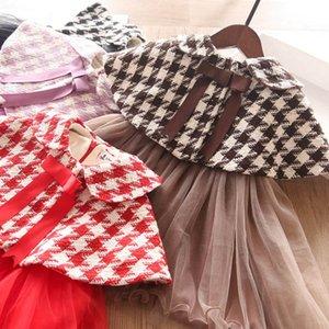 Winter 2020 new 2-6Y Boutique girls outfits princess girls suits woolen cloak+dresses 2pcs set fashion girls clothes 5set lot B3248