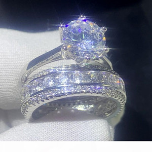 K 2020 Top Selling Brand New Couple Rings 925 Sterling Silver Round Cut White Topaz Diamond Fashion Jewelry Women Wedding Bridal Ring S
