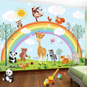 3D Hand Painted Cartoon Rainbow Animal Kindergarten Children Baby Room Bedroom Wardrobe Wallpaper Wall Mural Sticker Home Decor