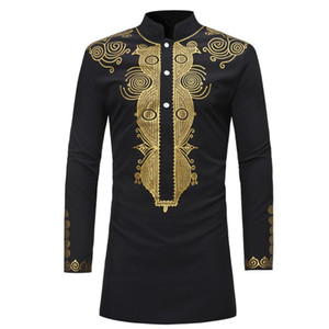 New 2020 Dashiki Fashion African Traditional Printed Rich Bazin Men Long Sleeve Africa Clothing Thobe Dress for Man Shirt