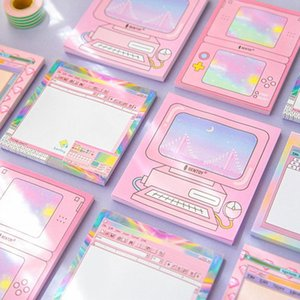 Retro Computer Sticky Memo Note Pad Memo Sheets Pink Post Draw Text Sticker It Label Stationery Office School Supplies Fm459 sqcYNt