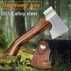 Mini cabo de madeira de aço portátil liga DC53 machado ferramenta de resgate multifuncional exterior tática de sobrevivência na selva acampamento machado de incêndio