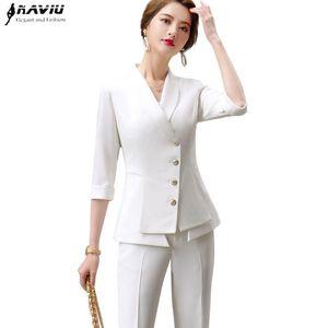 Fashion women pants suits new spring business formal half sleeve blazer and pants office ladies elegant woek wear