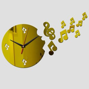 New Design Musical Note Decoration Wall Clocks Mirror Acrylic Wall Stickers For Living Room Watches For Gifts Wall Clock
