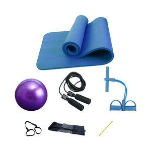 Yoga Mat Four-Piece Tuta Yoga Mat 10mm Two-Stretch Tirerer Black Jump Corda Pilates Ball Fitness Attrezzature Impostare Home Esercizio