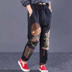 2020 Yeni Kadın Bahar Moda Denim Jeans Marka Vintage Karikatür cepler düz Pantolon C 1008 ile Kadın Casual Frayed Pantolon yazdır