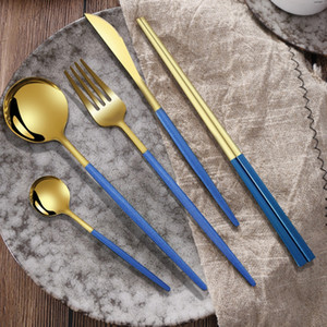 4Pcs Gold Cutlery Set 304 Stainless Steel Dinnerware Set Knife Dessert Fork Coffee Spoon Kits Home Kitchen Dinner Tableware Set DBC BH4188