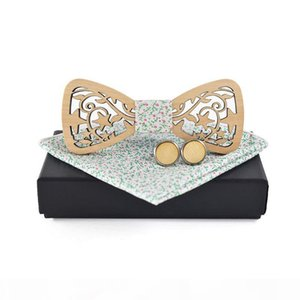 wholesale Formal Business Wood Bow Tie Handkerchief Cufflinks Set for Mens Hollow Wooden Bowtie Pocket Square Set