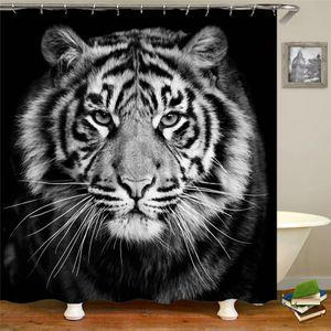 Rideau de douche imperméable Lion de tigre Cheval Zèbre animal de bain Rideaux 3d Imprimé salle de bains en tissu avec des crochets 180 * 200cm BAIGNOIRE X1018