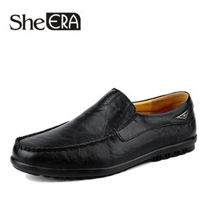 Handmake Men Casual Cow Leather Shoes Genuine Leather Men's Flats Black Brown Soft Comfort Business Dress Mens Shoes Men Homme