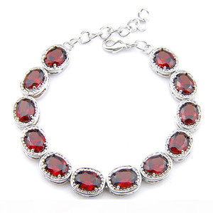 Luckyshin 6Pcs lot Shiny Oval Red Garnet Gems 925 Sterling Silver Plated Chain Bracelets Russia Australia USA Bracelets Bride Jewelry 8&#039