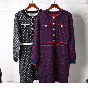 Milan Runway dress 2020 Long Sleeve O Neck Women's dress High End Jacquard Pullover Women Designer dress 0731-3