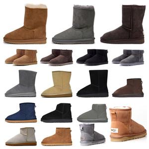 2020 새로운 호주 여성 소녀 클래식 스노우 부츠 발목 짧은 활 모피 부츠 겨울 검은 밤나무 여성 신발 크기 36-41 패션 야외