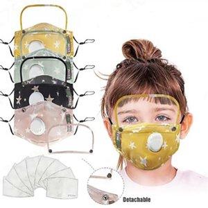 Çocuk Maskeler Maske Vana İki adet PM2.5 ile Yıldız Nefes Vana Ağız Mask Ayrılabilir Yüz Ekran Göz Koruma ZGY207 Filtreler