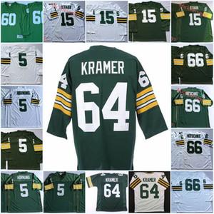 Hombre # 64 Jerry Kramer Vintage Jersey de fútbol cosido # 5 Paul Hornung # 15 Bart Starr # 66 Ray Nitschke # 60 Rob Davis Jersey M-3XL