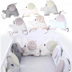 6 шт. / Установить хлопчатобумажную детскую детскую детскую кроватку бампера колыбель защитный забор фаршированные хлопчатобумажные слон постельное белье бампер для детского постели 1
