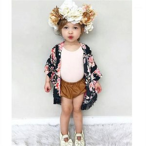 New Floral Children Girls T-shirt Short Sleeve Summer Cardigan Chiffon Clothes Wear Child Kids Toddler Girl Kimono Outfit1