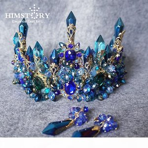 Himstory Amazing Brides Oversize Blue Baroque Royal Crown Headpiece Retro Green Rhinestone Tiara Hairbands Wedding Hair Jewelry S926