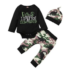 Baby Boy Clothing Set Letter Long Sleeve Bodysuit Camouflage Pants Hat 0-18M Newborn Infant Toddler Fall Casual Cotton Outfit