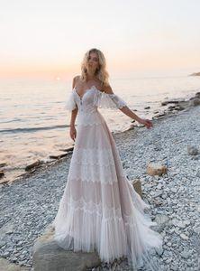 Sexy Spaghetti Beach Wedding Dresses A Line Off Shoulder Long Tulle Lace Boho Wedding Gowns Bride Dress Plus Size Straps Vestidos de novia