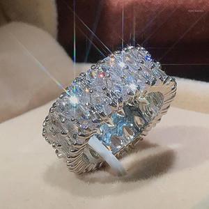 Küme Yüzük Kadınlar Lüks 925 Ayar Gümüş Nişan Düğün Band Pave Ayarı Su Damlası Zirkon Yüzük Kadın Trendy Jewelry1 için