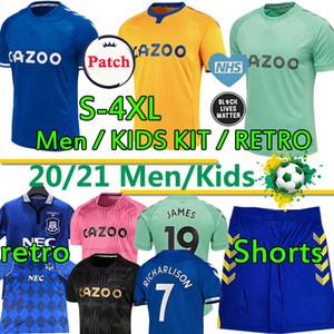 2020 2021 에버 튼 축구의 새로운 유니폼 # 19 JAMES 남자 아이 키트 세트 축구 셔츠 # 7 RICHARLISON 킨 데이비스 1987 88 94 95 레트로