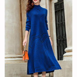 2021 New Vintage Blue Knit Turtleneck Wool Sweater Maxi Dress Autumn Winter Casual Women Elegant Bodycon Long Sweaters Dress